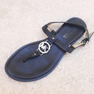 MICHEAL KORS Black MK Charm Flat Sandal